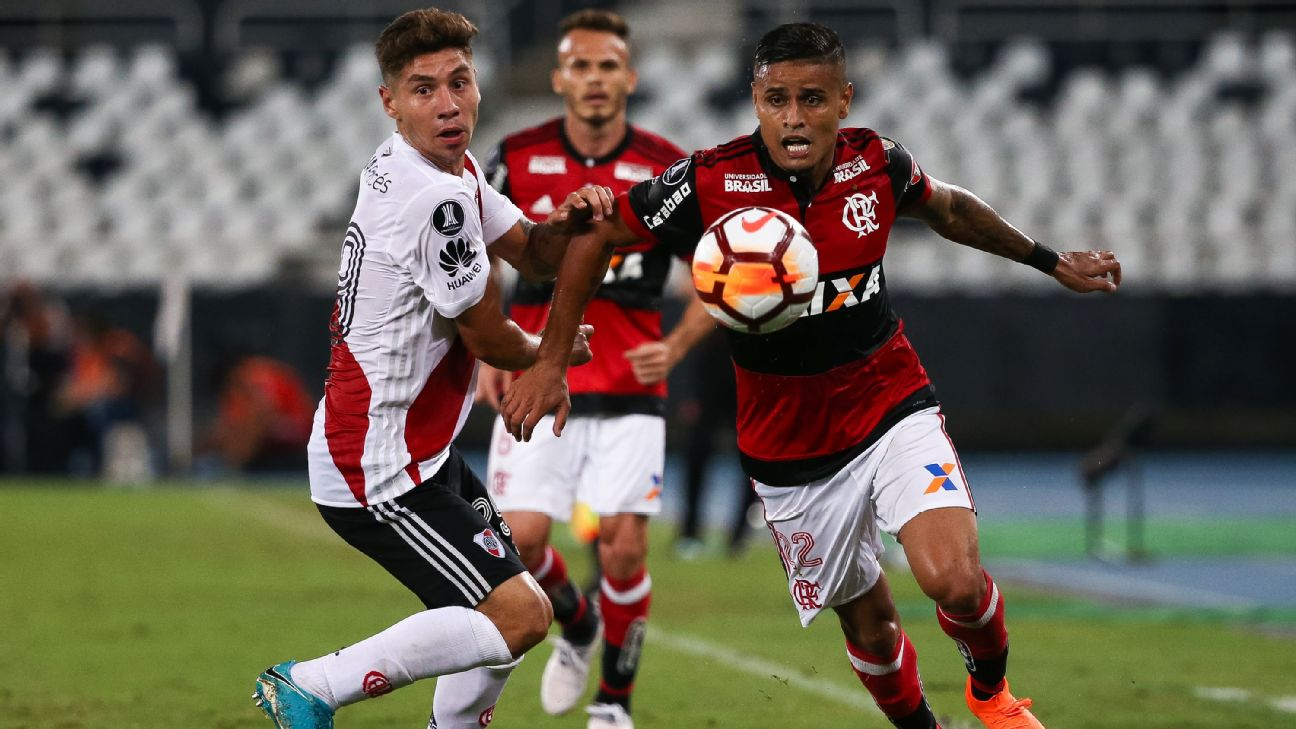 Everton defendendo o Flamengo na Libertadores de 2018