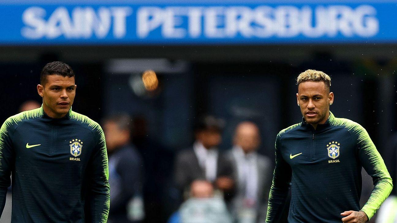 Thiago Silva e Neymar durante treino na véspera de Brasil x Costa Rica na Copa do Mundo da Rússia