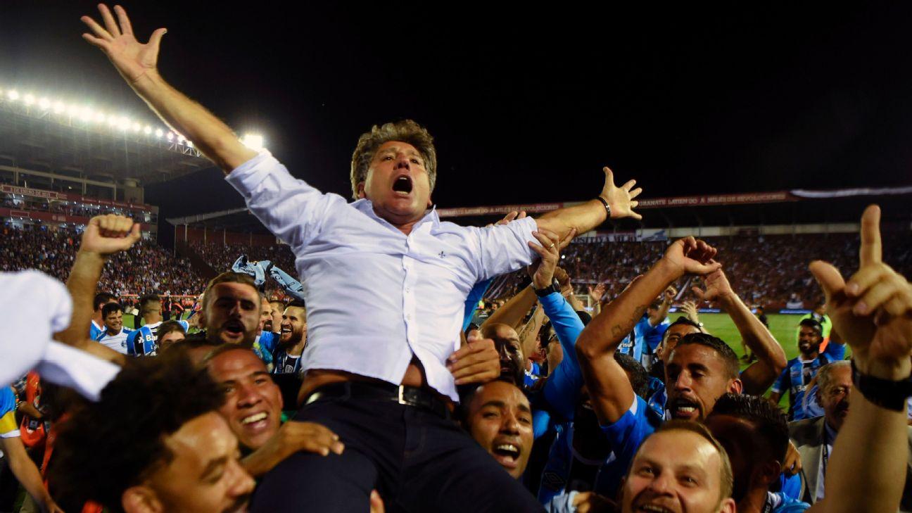 Renato Gaúcho na comemoração do título da Libertadores de 2017
