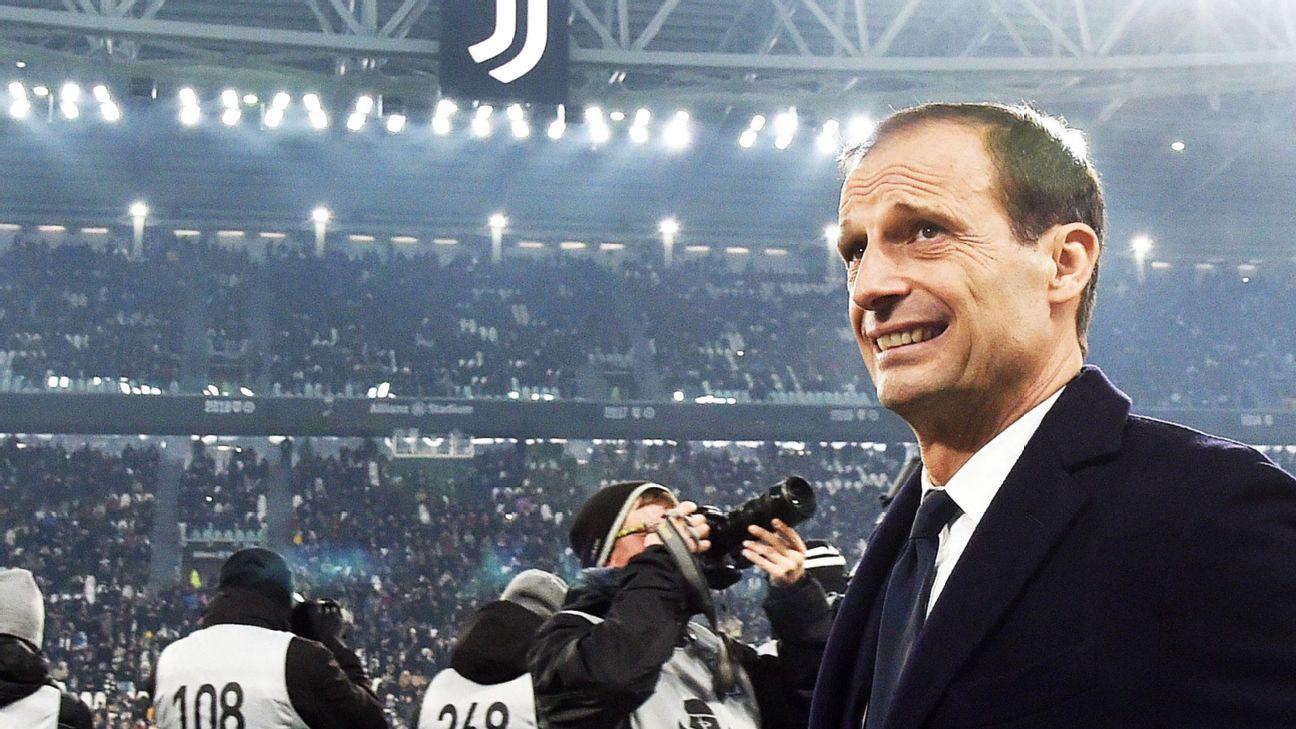 Massimiliano Allegri durante jogo entre Juventus e Roma, pelo Italiano