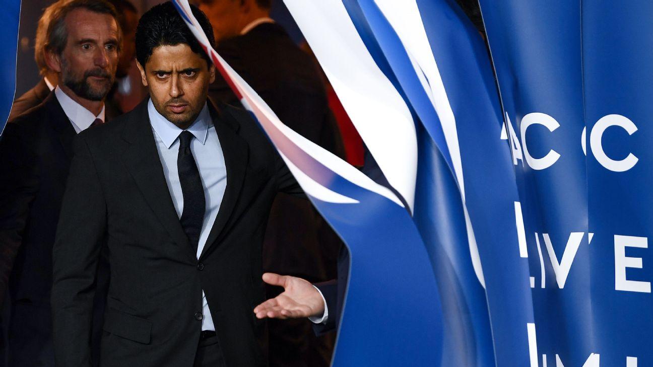 Nasser al-Khelaifi durante evento do Paris Saint-Germain, em fevereiro de 2019