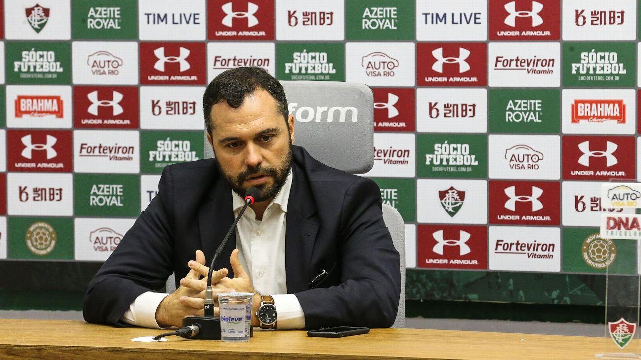 Mário Bittencourt, presidente do Fluminense, durante coletiva em agosto de 2019