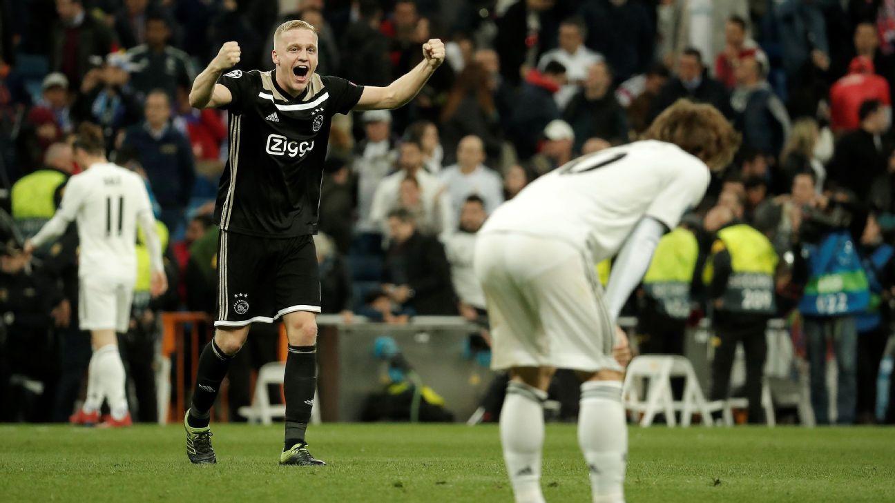 Van de Beek, do Ajax, após a vitória sobre o Real Madrid, nas quartas da Champions 2018-19