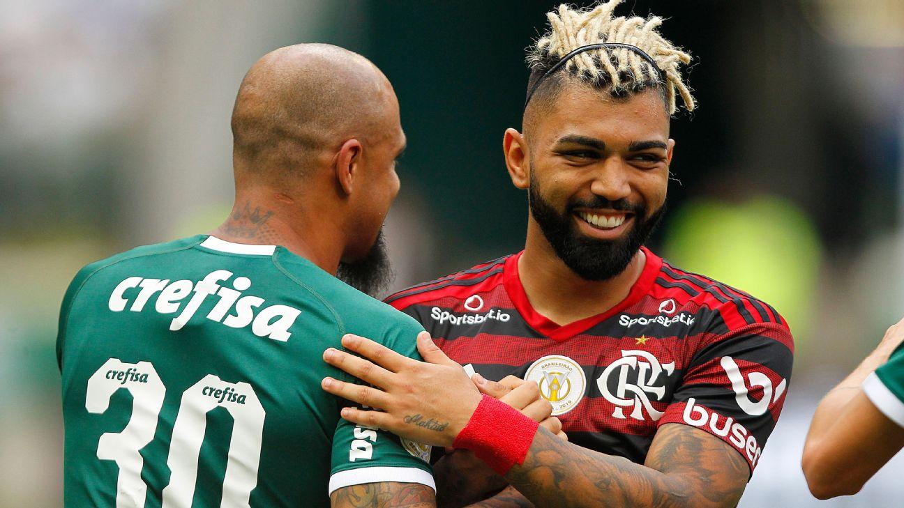 Felipe Melo e Gabigol se abraçam antes de Palmeiras x Flamengo