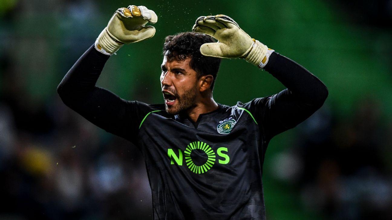 Renan Ribeiro durante jogo entre Sporting e LASK Linz, pela Liga Europa