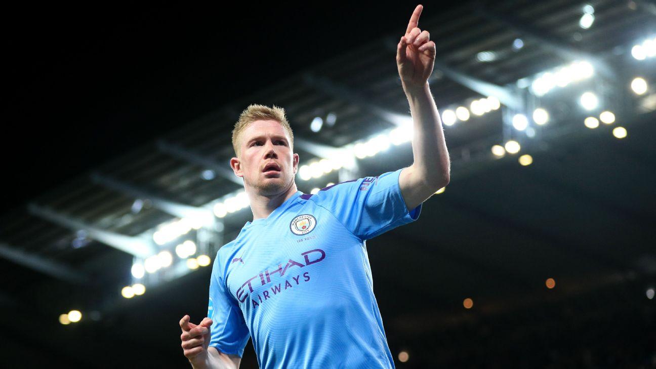 De Bruyne comemorando seu gol diante do West Ham