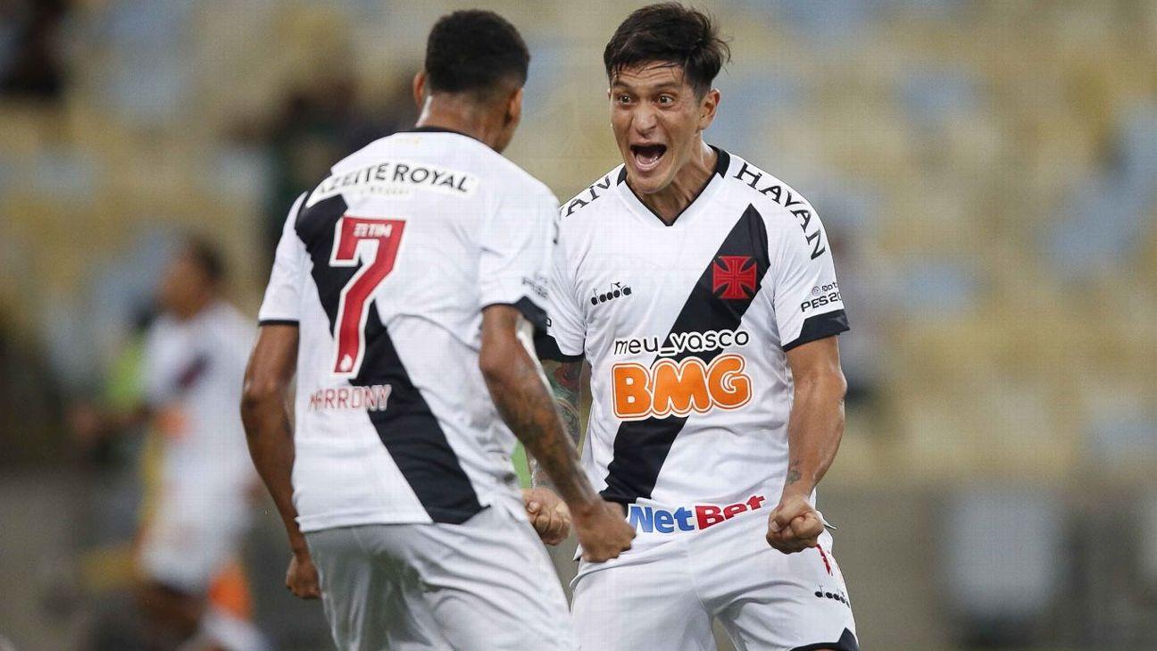 Germán Cano comemora após marcar para o Vasco sobre o ABC