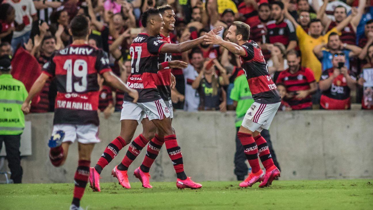 Jogadores do Flamengo comemoram o gol de Everton Ribeiro sobre o Botafogo