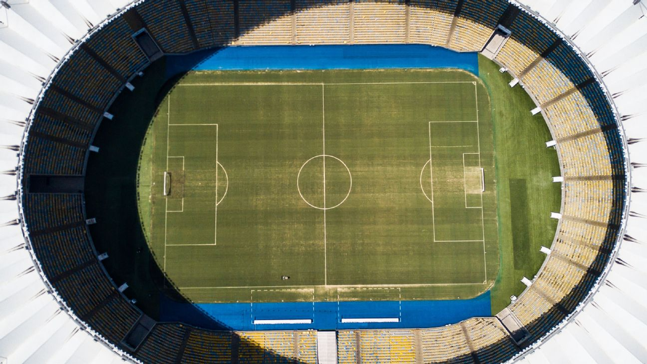 Vista aérea do Maracanã no dia 19 de março de 2020