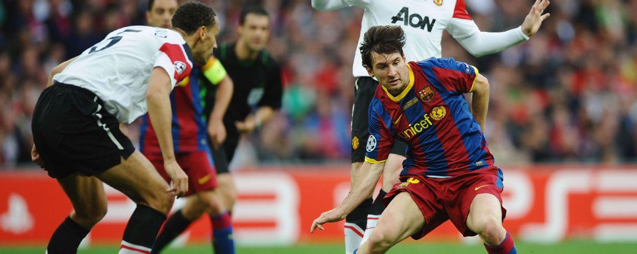 Messi tenta driblar Ferdinand durante final da Champions de 2011