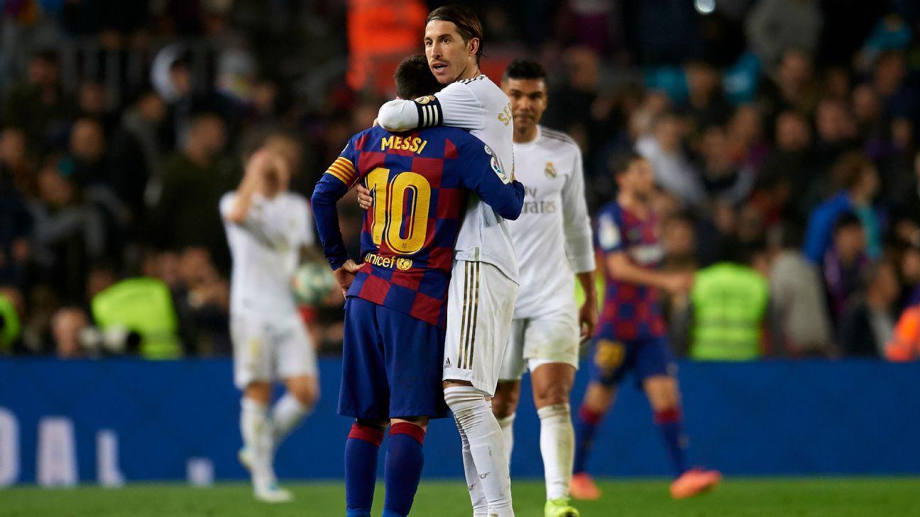 Messi e Sergio Ramos se cumprimentam durante El Clásico