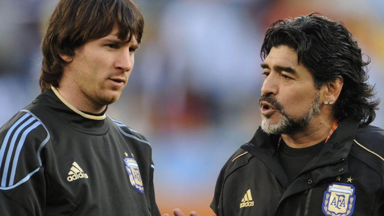 Lionel Messi e Diego Maradona pela seleção argentina em 2010