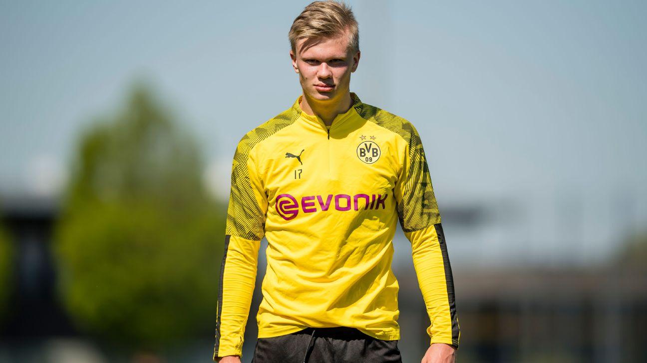 Erling Haaland durante treino do Borussia Dortmund, em 22 de abril de 2020