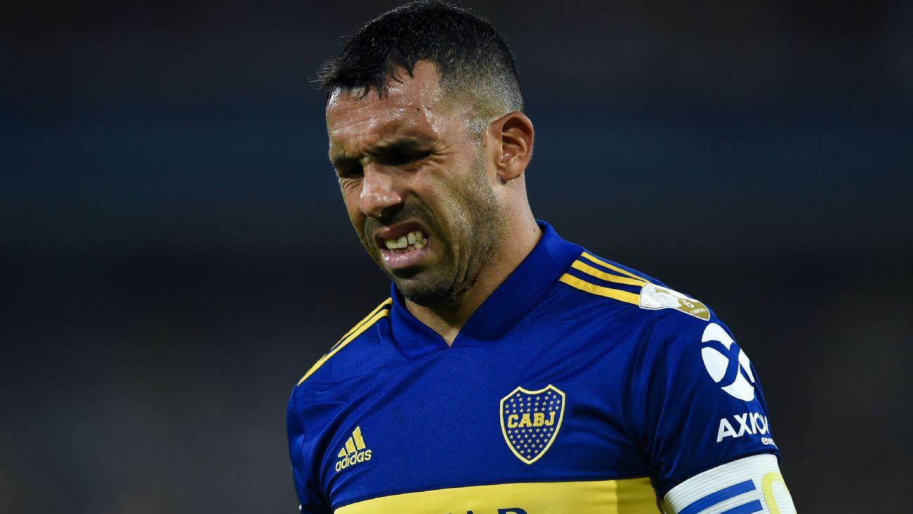 Tevez durante jogo entre Boca Juniors e Independiente Medellín, pela Libertadores
