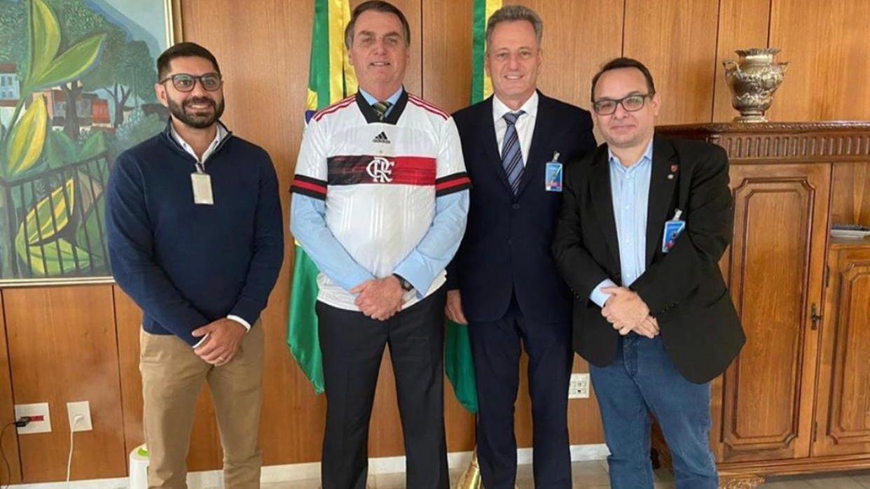 Rodolfo Landim com Jair Bolsonaro durante encontro em Brasília