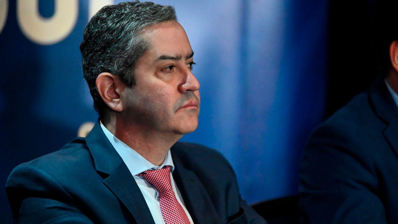 Rogério Caboclo, presidente da CBF, durante encontro na Conmebol em 2019