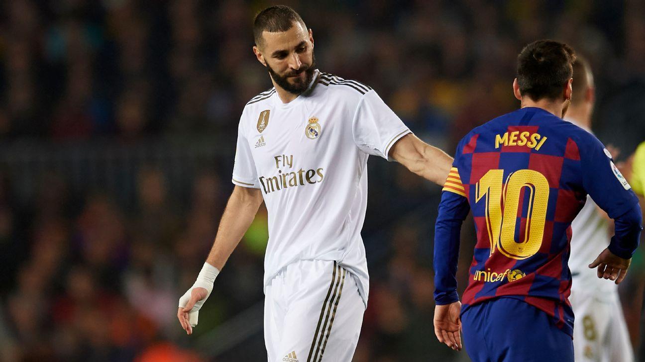 Karim Benzema e Lionel Messi durante partida entre Barcelona e Real Madrid