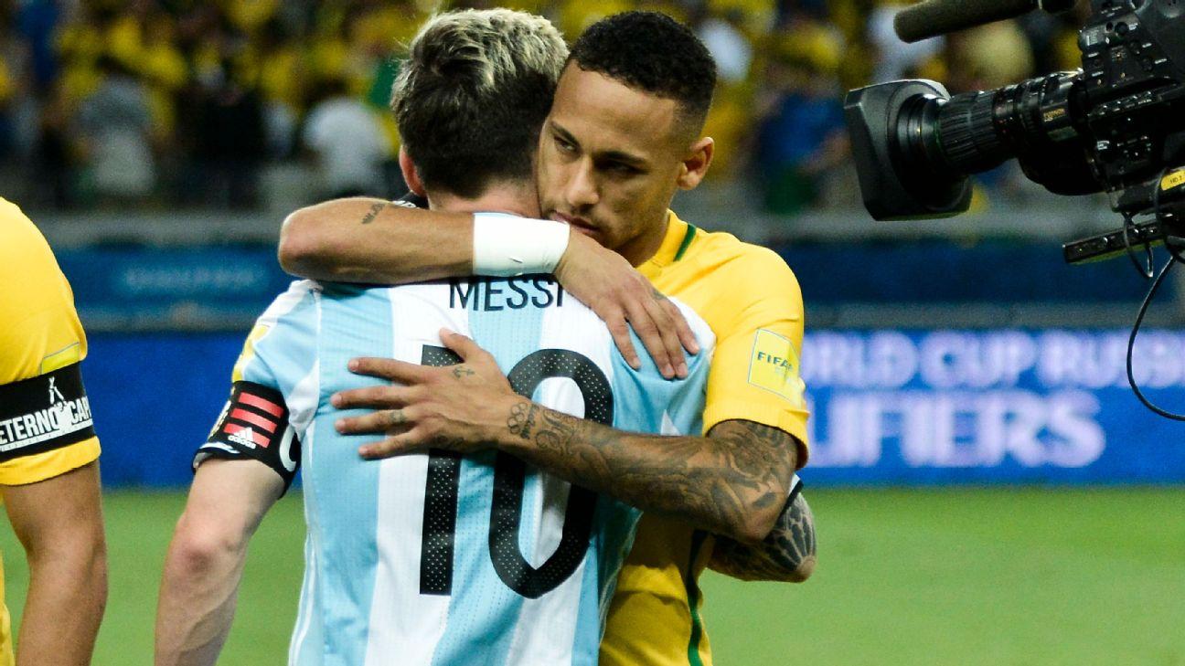 Neymar e Messi se abraçam antes de Brasil x Argentina, pelas eliminatórias