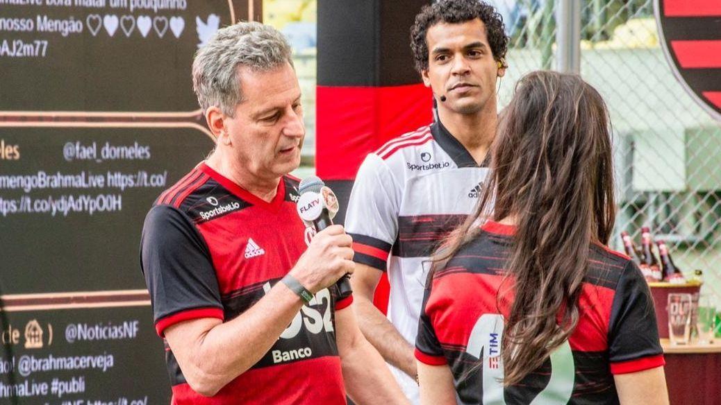 Presidente Rodolfo Landim durante 'live' do Flamengo no Maracanã em 2020