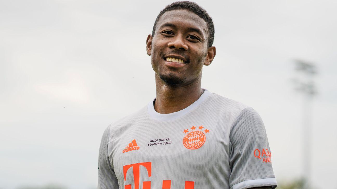 Alaba durante treino do Bayern de Munique, em 26 de julho de 2020
