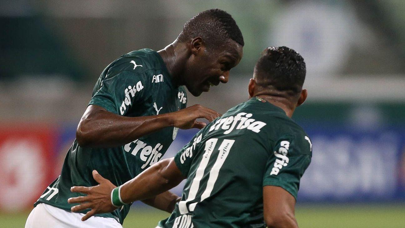 Patrick de Paula comemora após marcar para o Palmeiras sobre a Ponte Preta