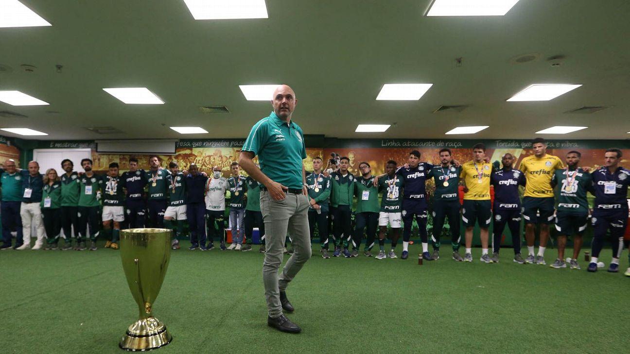 Maurício Galiotte comemora a conquista do Paulistão pelo Palmeiras