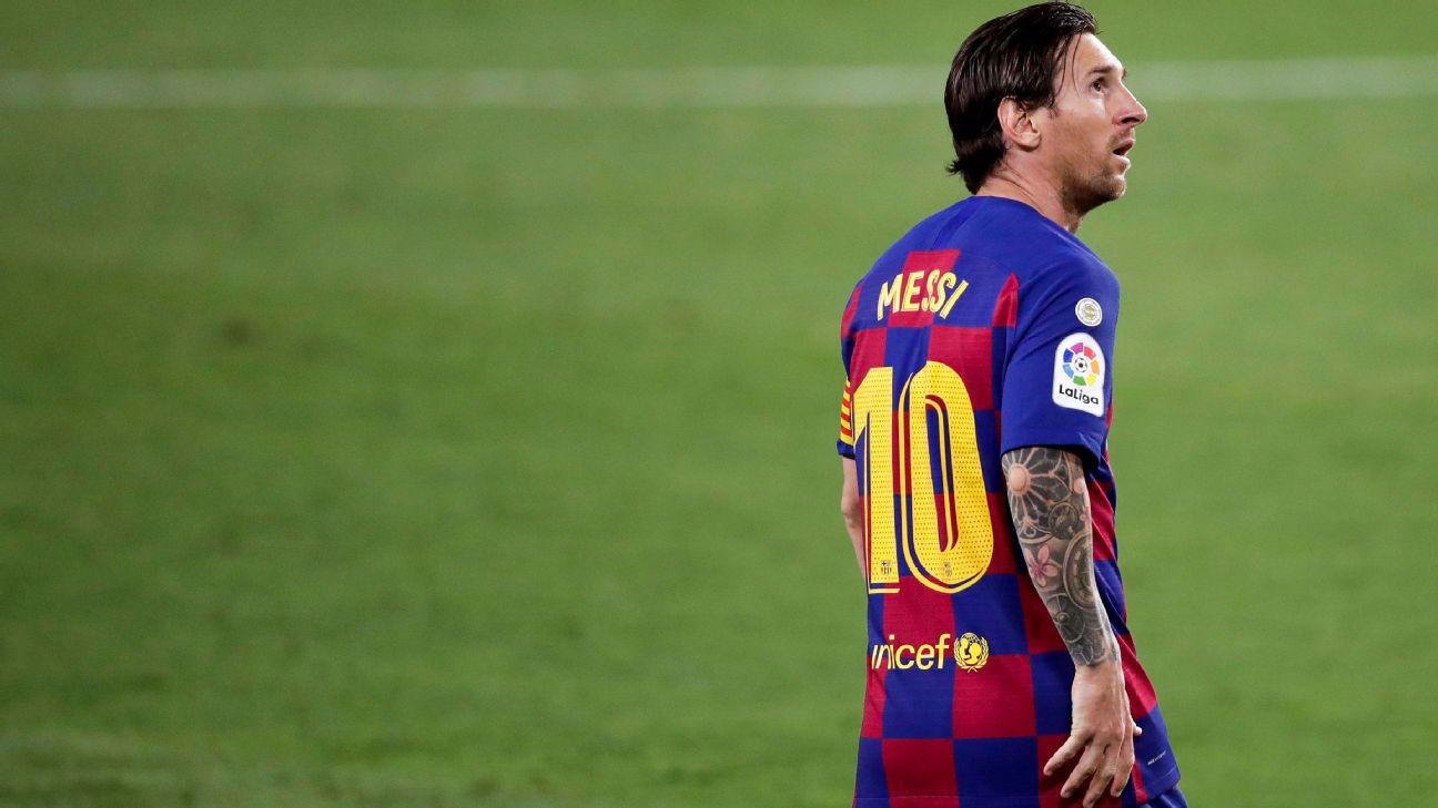 Messi durante jogo entre Barcelona e Sevilla, por LaLiga