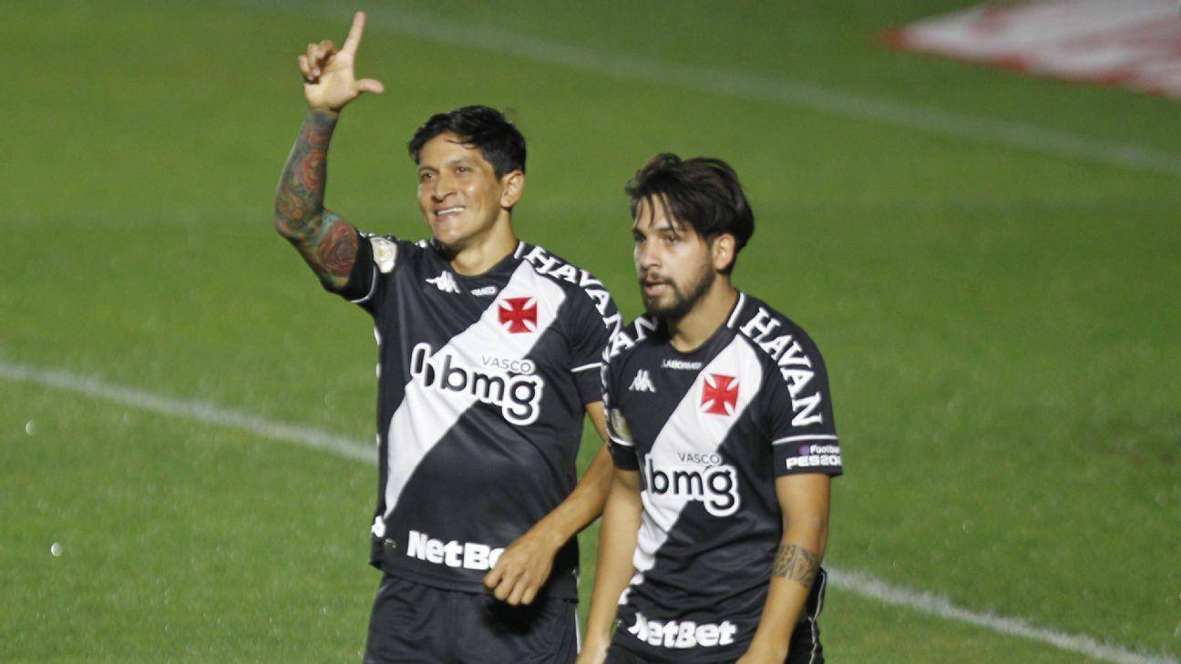 Germán Cano comemora seu gol diante do Athletico-PR