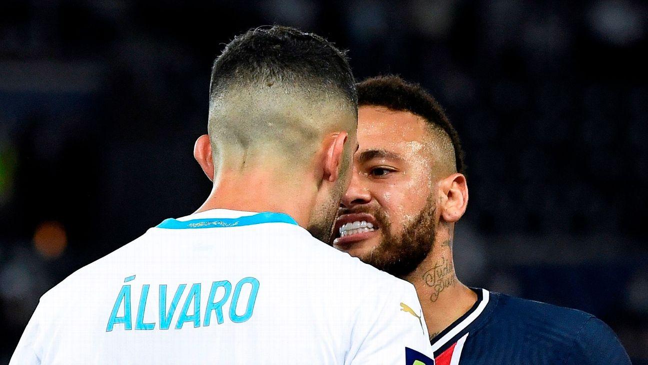 Neymar discute com Álvaro durante jogo entre PSG e Olympique de Marselha