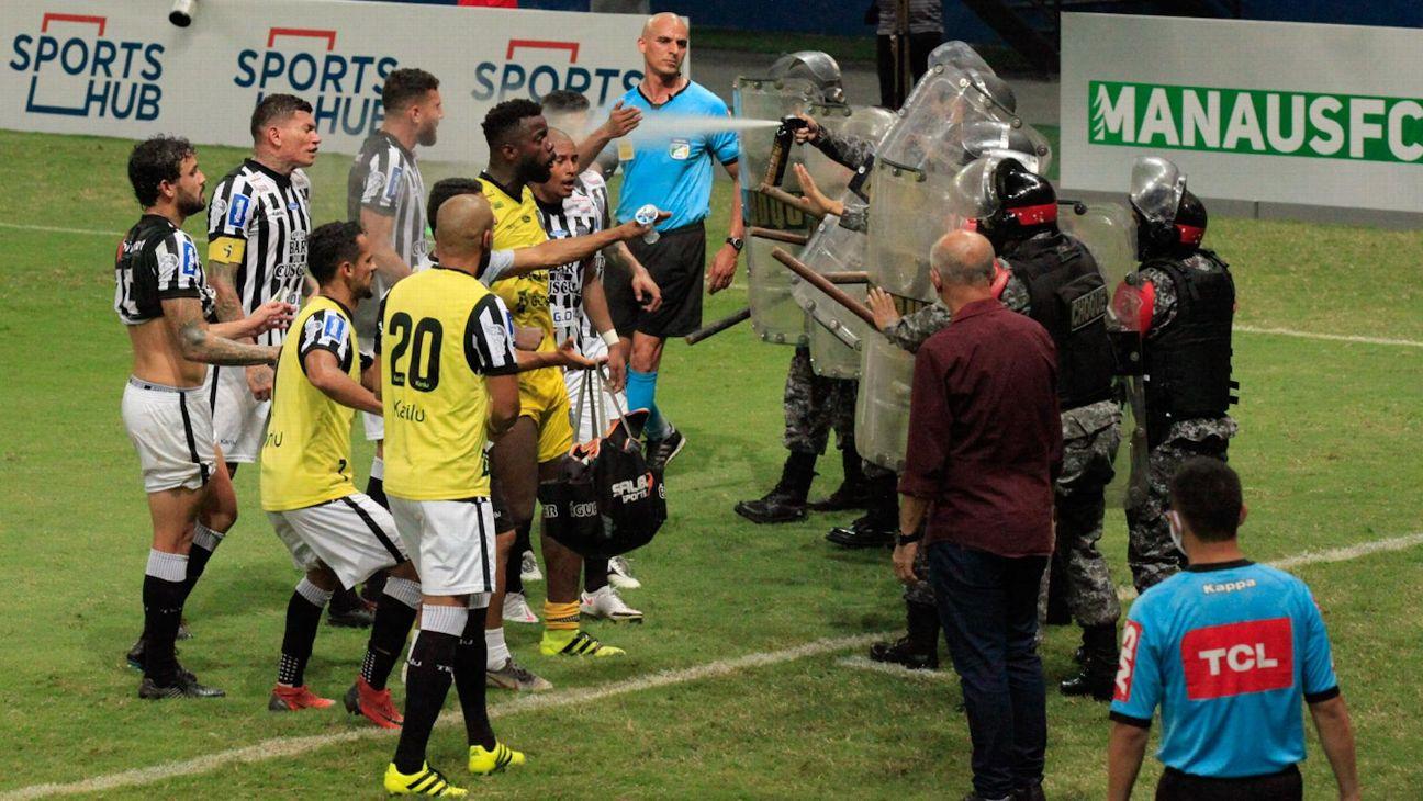 Confusão entre jogadores do Treze e polícia em partida pela Série C do Brasileirão