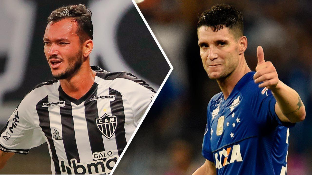 Réver e Thiago Neves com as camisas de Atlético-MG e Cruzeiro, respectivamente