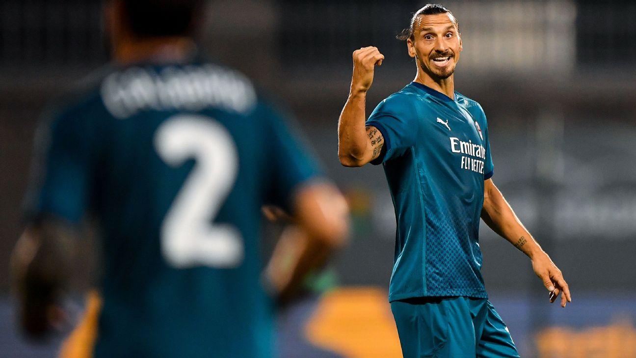 Ibra comemora seu gol diante do Shamrock pela Liga Europa