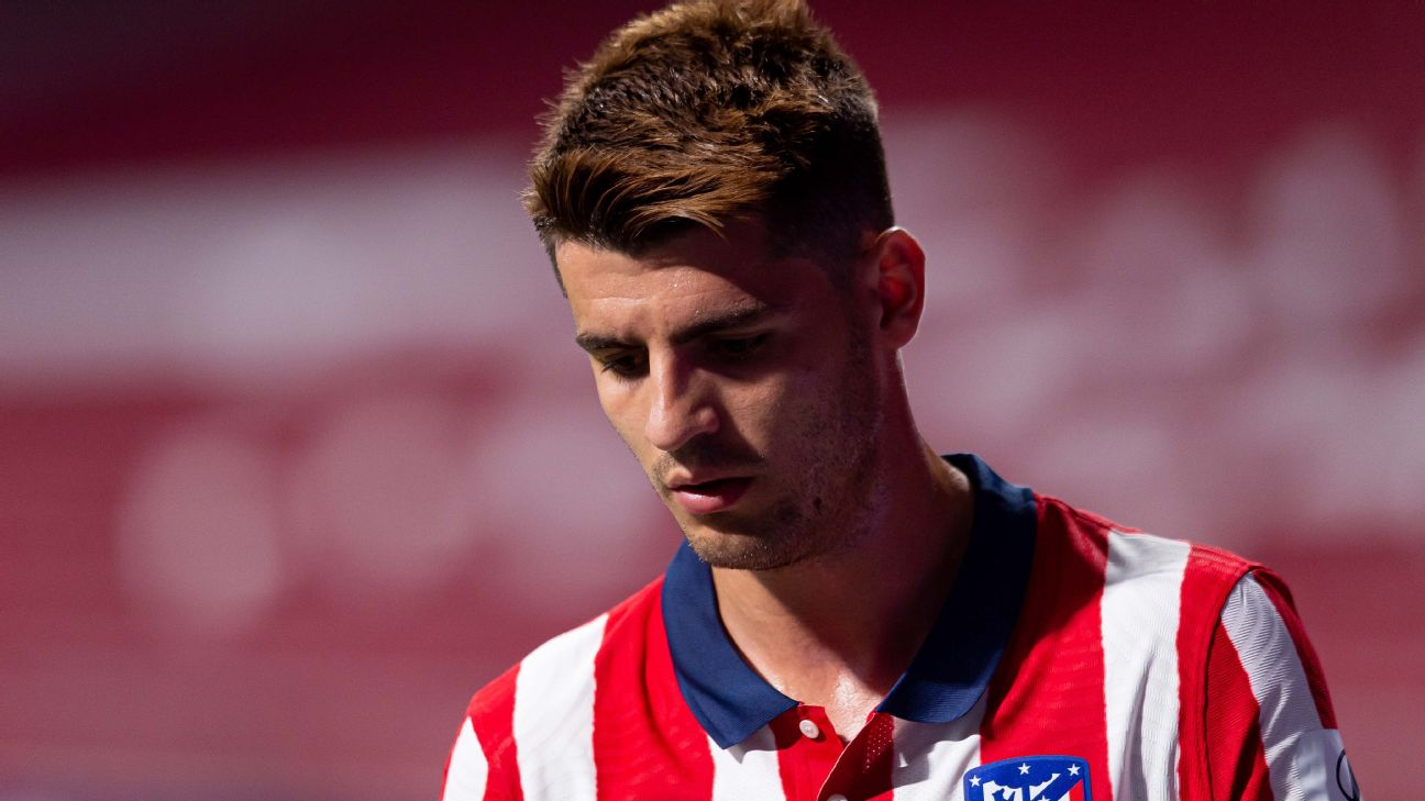 Morata lamenta durante jogo entre Atlético de Madrid e Real Sociedad