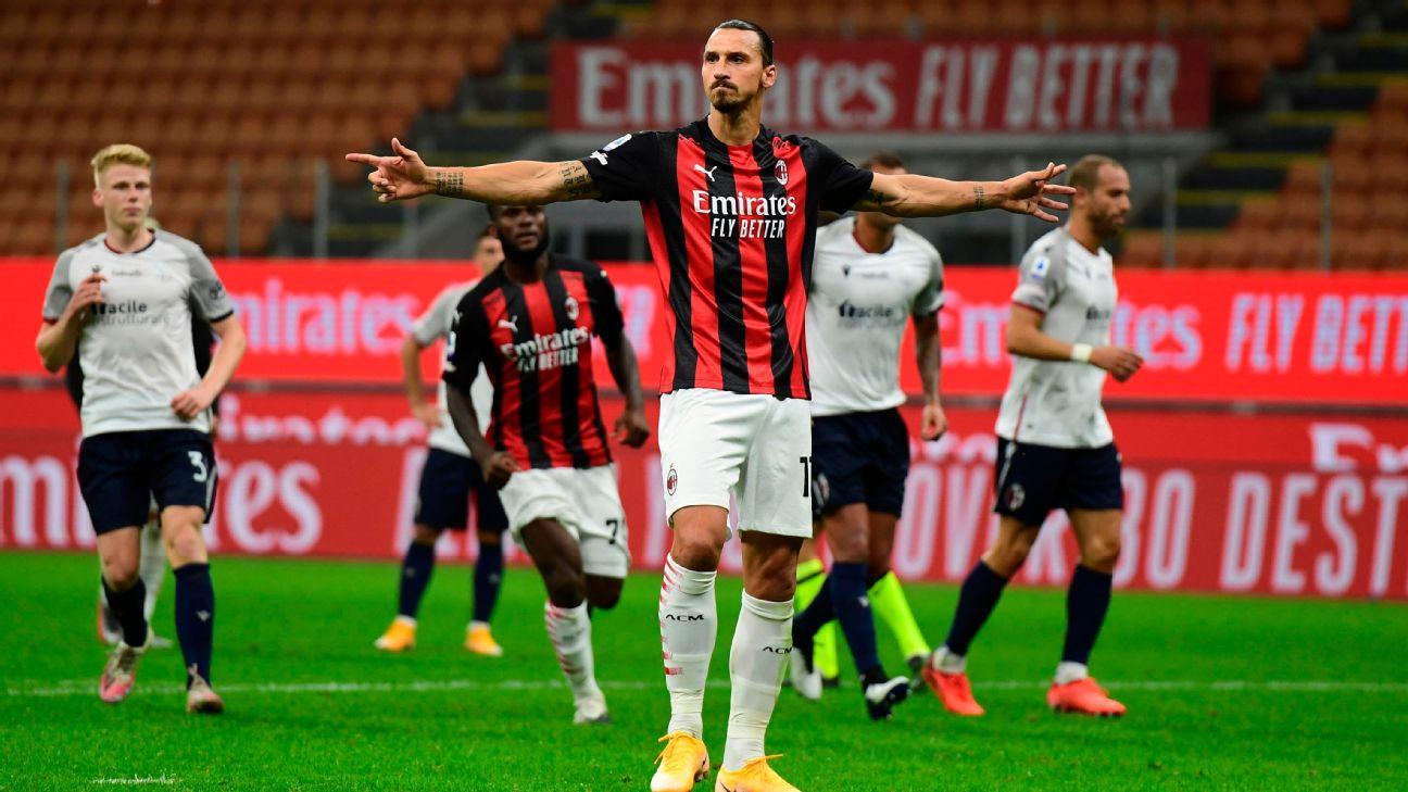 Ibra comemora um de seus gols diante do Bologna