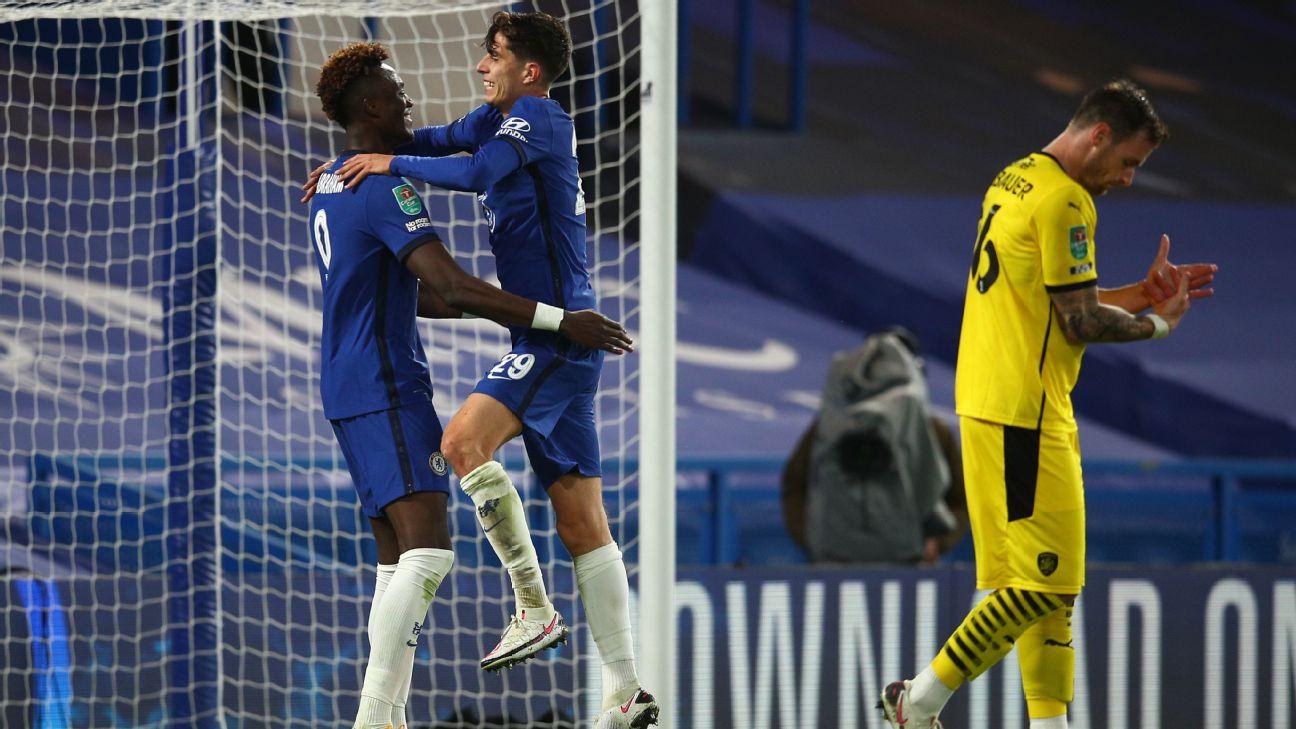 Havertz comemora um de seus três gols pelo Chelsea contra o Barnsley
