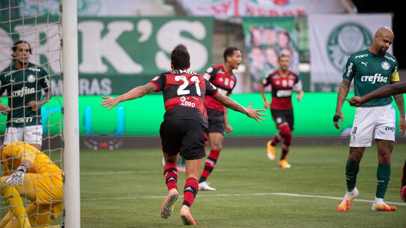 Pedro comemora gol do Flamengo contra o Palmeiras no Allianz Parque pelo Brasileirão