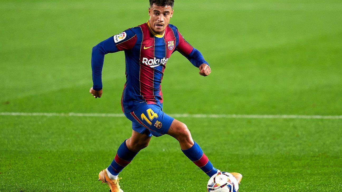 Philippe Coutinho em ação pelo Barcelona contra o Villarreal por LaLiga