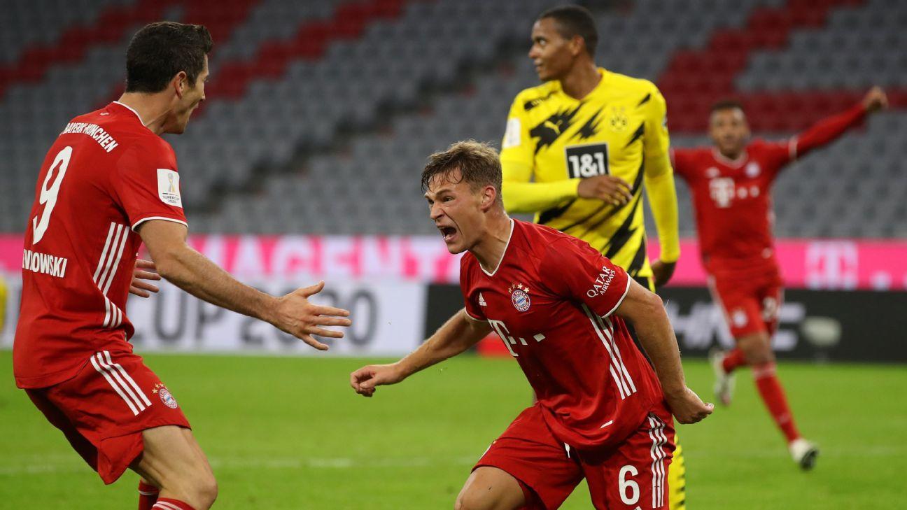 Kimmich comemora gol pelo Bayern contra o Borussia Dortmund