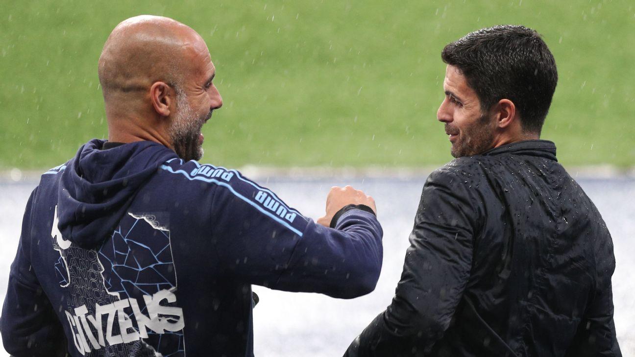 Pep Guardiola e Mikel Arteta.