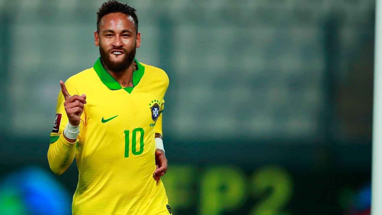 Neymar comemora após marcar para o Brasil sobre o Peru, pelas eliminatórias