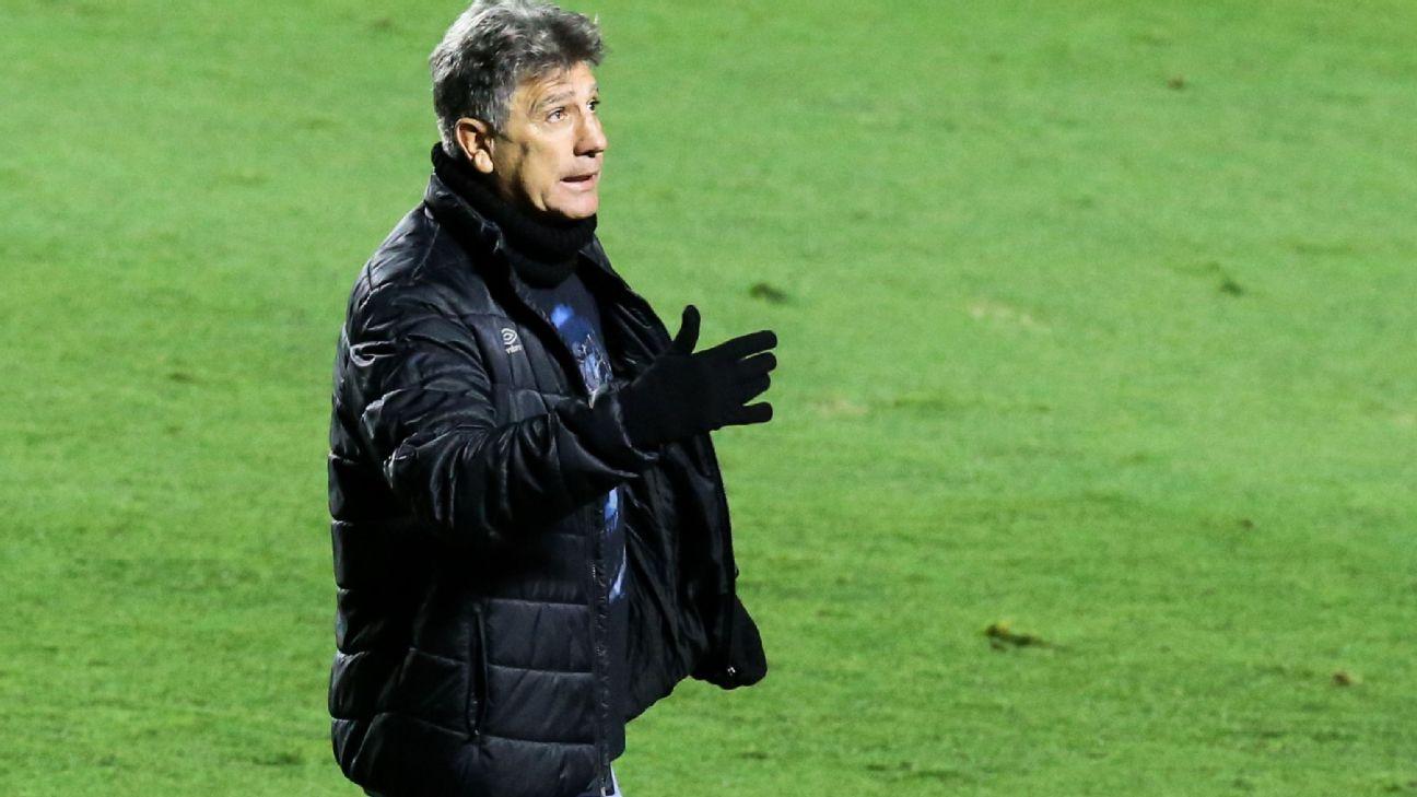 Renato Gaúcho durante jogo entre São Paulo e Grêmio, pelo Brasileiro