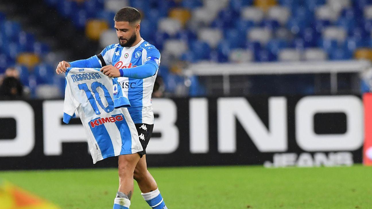 Insigne prestou homenagem a Maradona após marcar pelo Napoli sobre a Roma