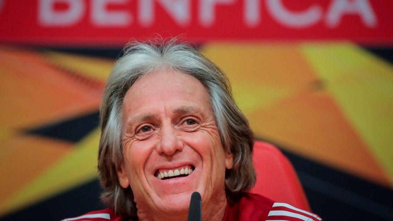 Jorge Jesus durante coletiva do Benfica, antes de jogo pela Europa League