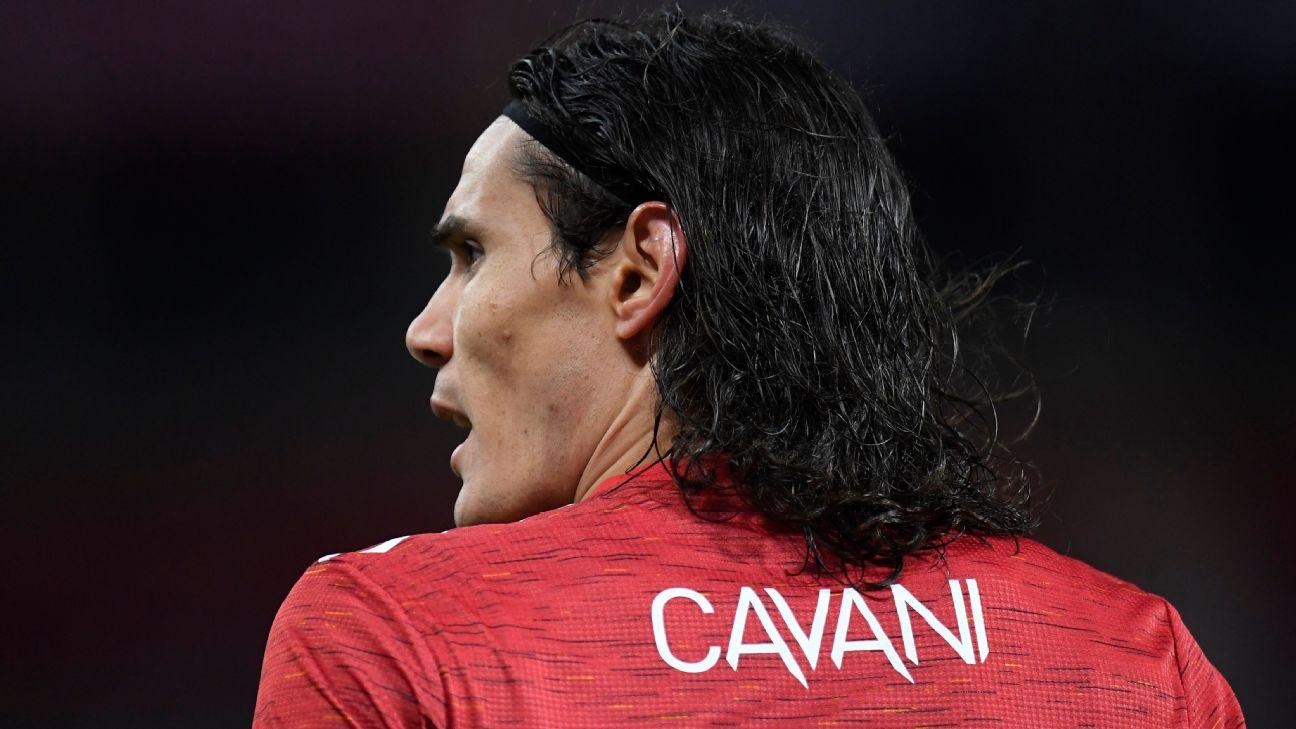 Cavani antes de jogo entre Manchester United e PSG, pela Champions
