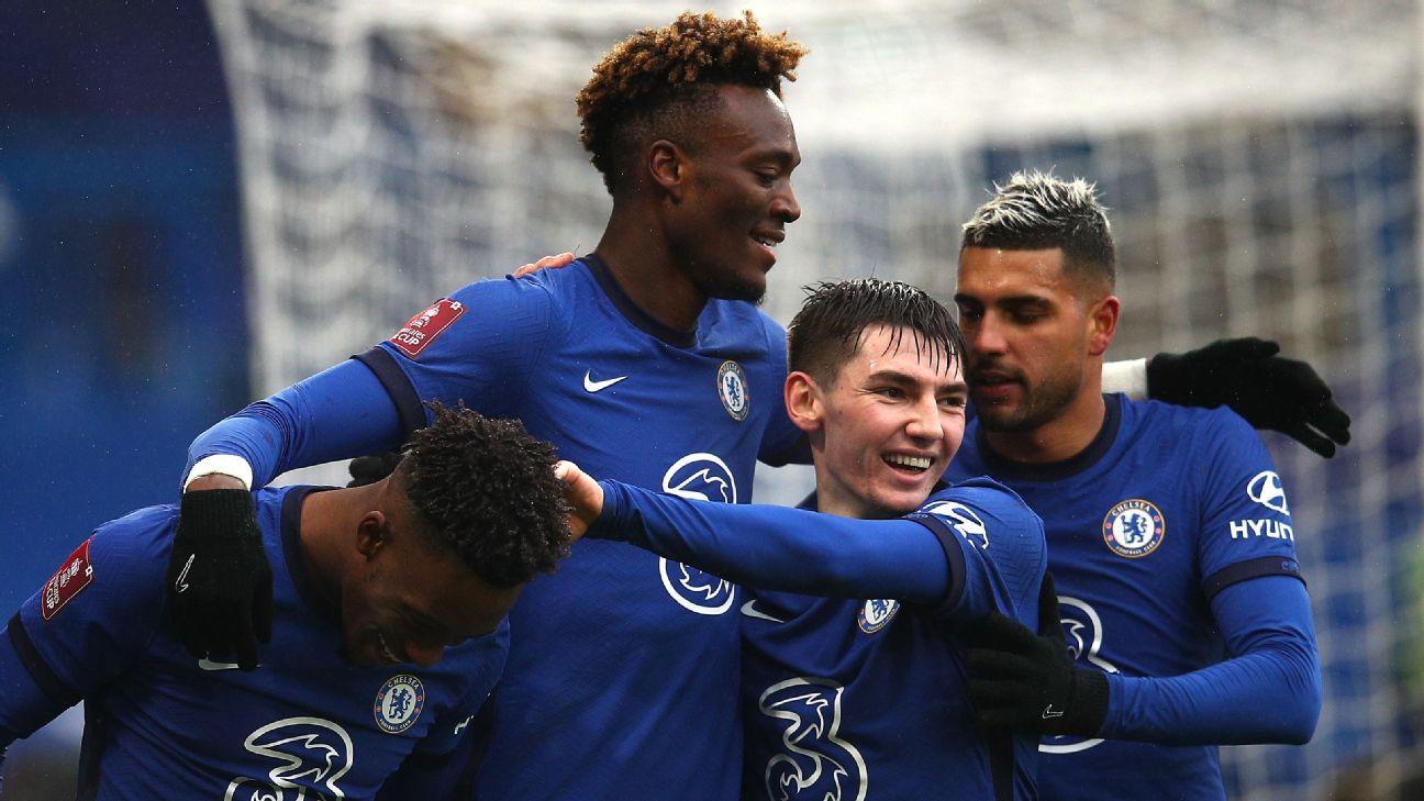 Jogadores do Chelsea comemoram gol