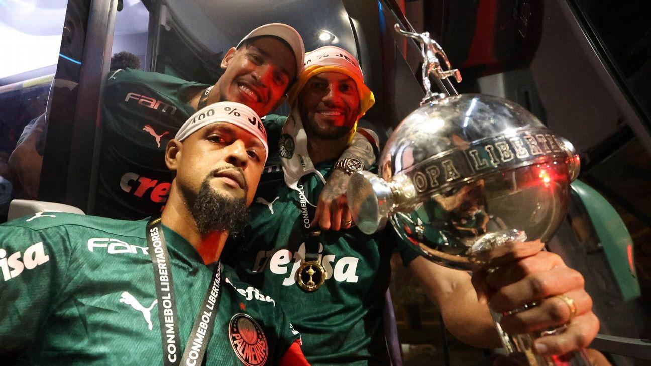 Jogadores do Palmeiras comemoram a conquista da Conmebol Libertadores