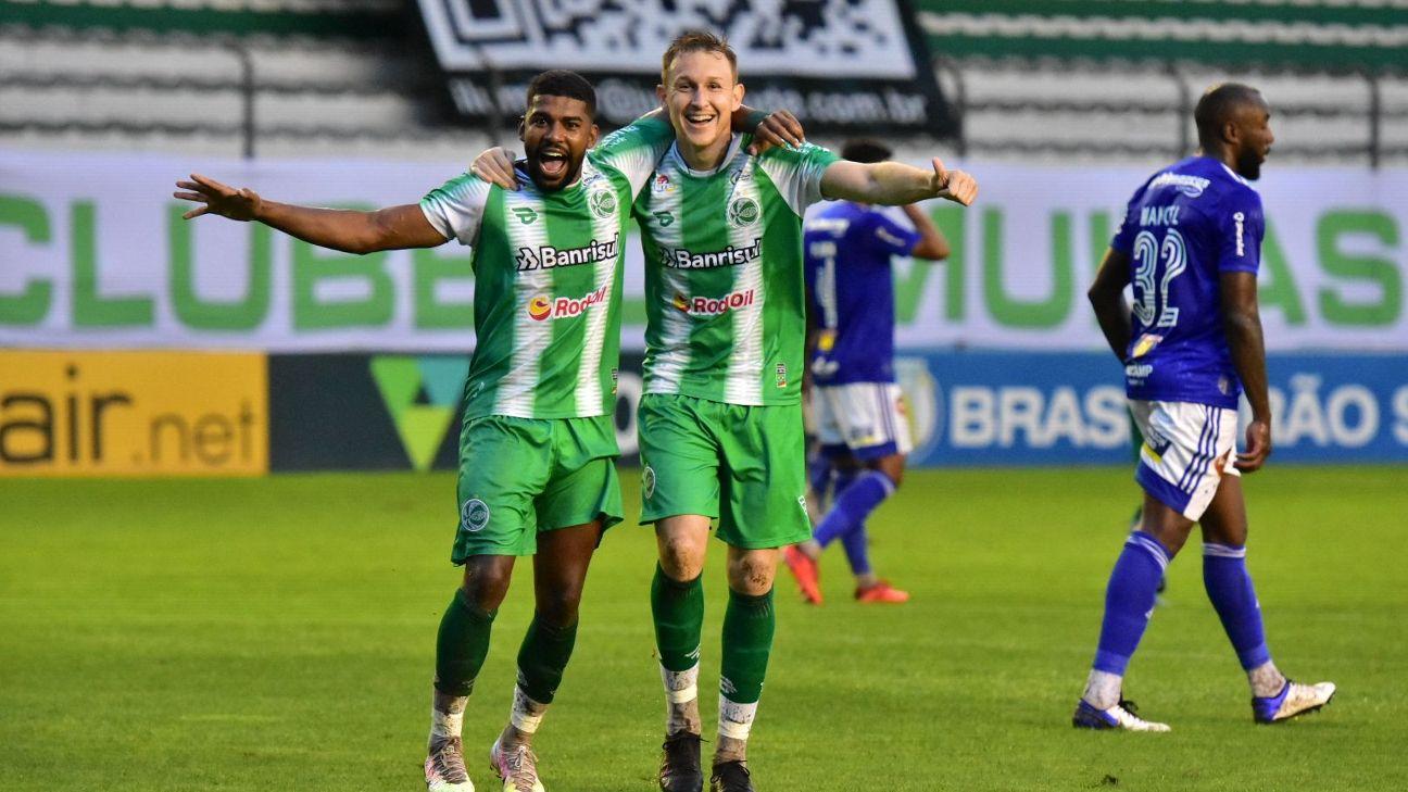 Capixaba, à direita, e Rafael Grampola, à esquerda, comemorando gol pelo Juventude contra o Cruzerio pela Série B