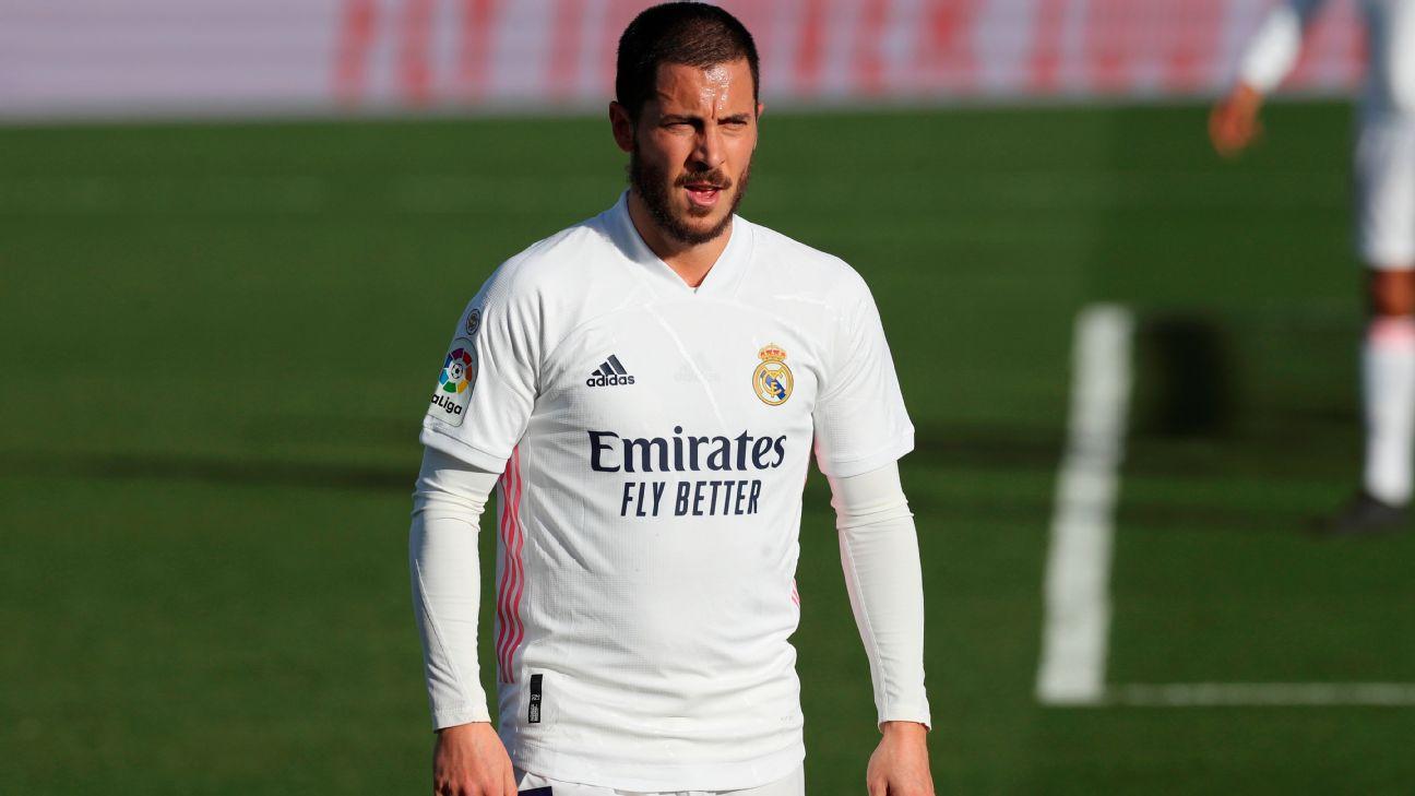 Hazard durante jogo entre Real Madrid e Levante, por LaLiga