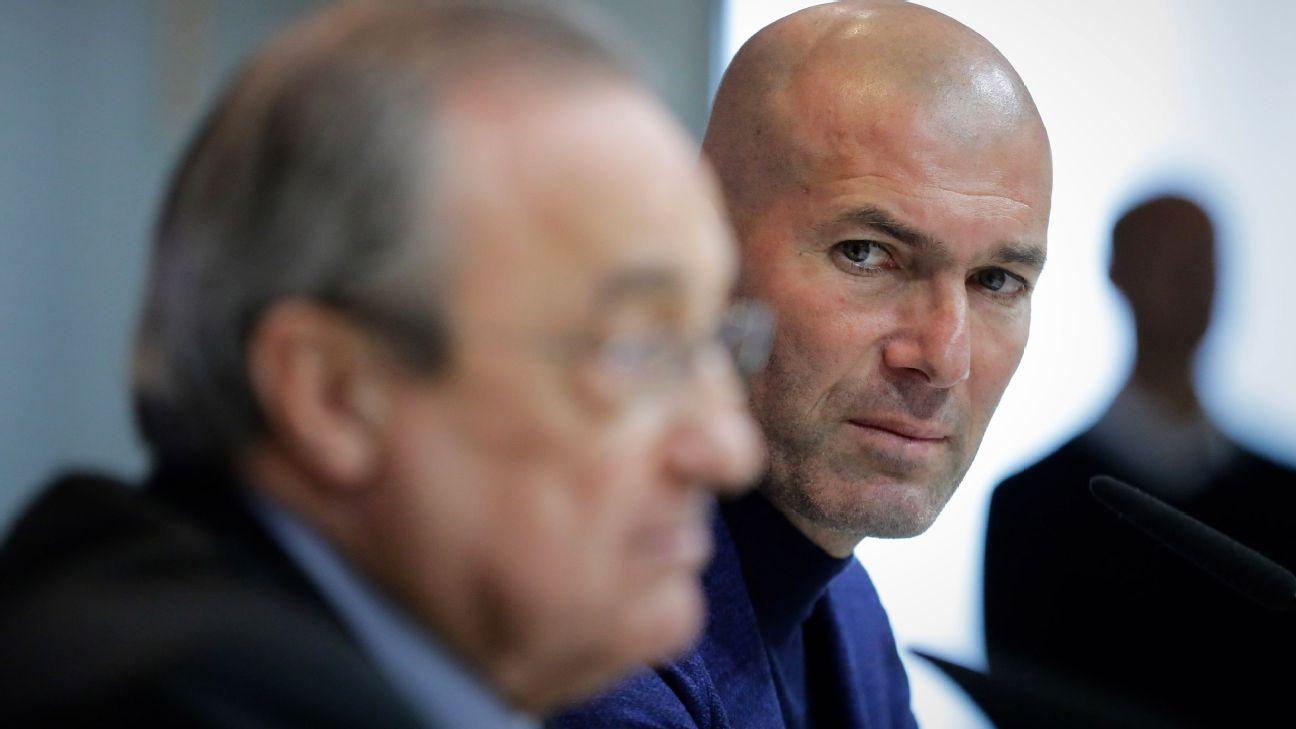 Florentino Perez e Zinedine Zidane em entrevista no Real Madrid