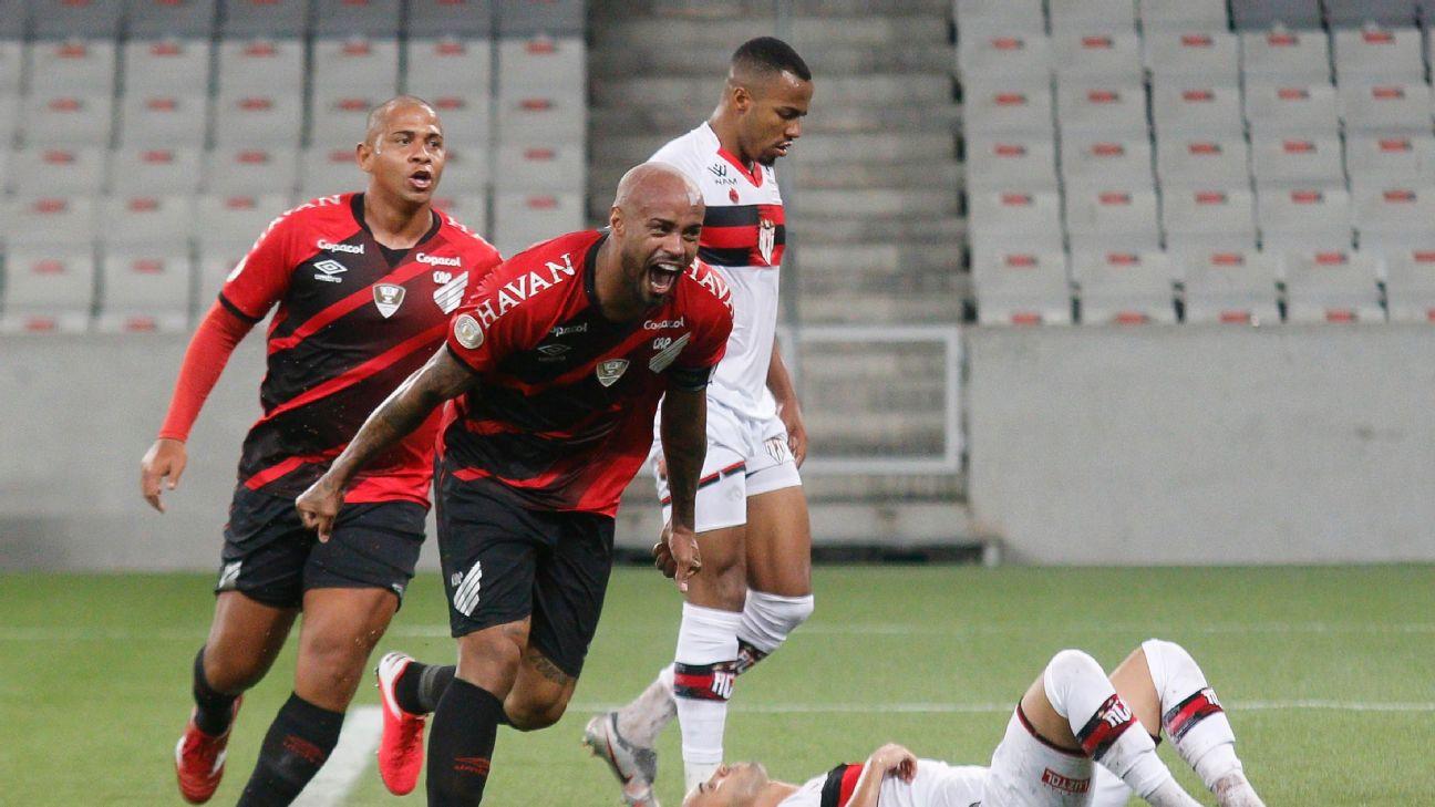 Thiago Heleno comemora gol do Athletico-PR na Arena da Baixada, pelo Brasileirão